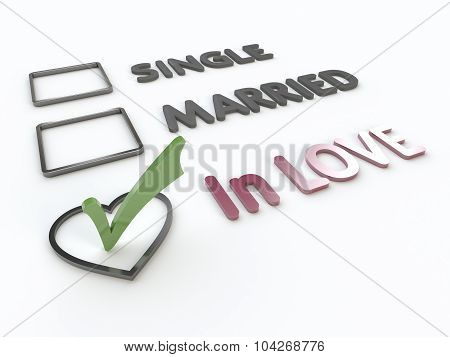 Lovers Marital Survey On White Background