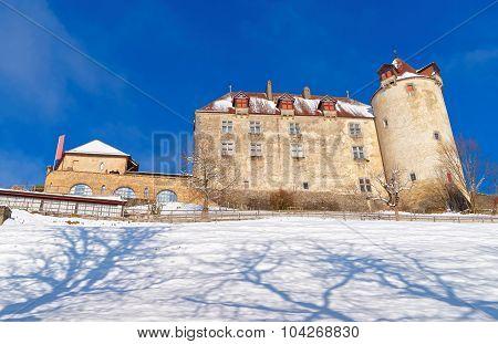 Famous Medieval Castle Of Gruyeres In Switzerland