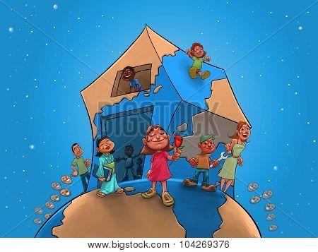Children And Teacher On Global House