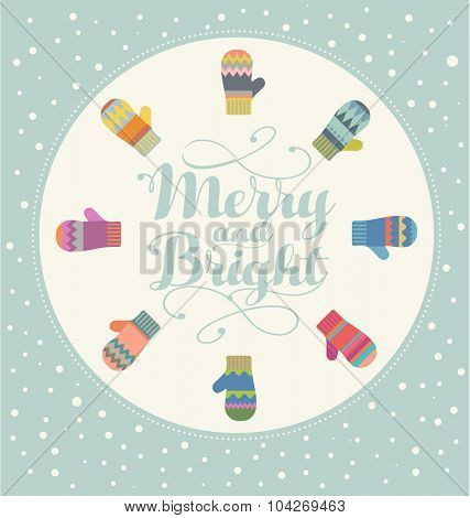 Holiday card design with colorful mittens Merry and Bright