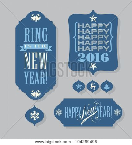 Happy New Year 2016 tags vintage typography design elements