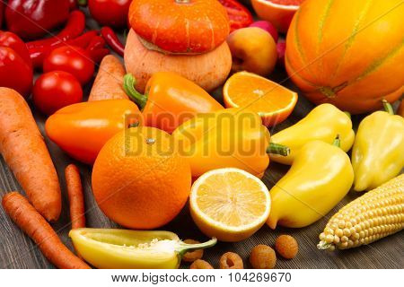 Fruits and vegetables closeup