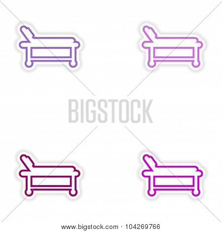 Set of paper stickers on white background hospital stretcher