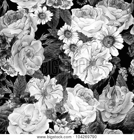 Floral Monochrome Vintage Seamless Pattern, watercolor illustrat