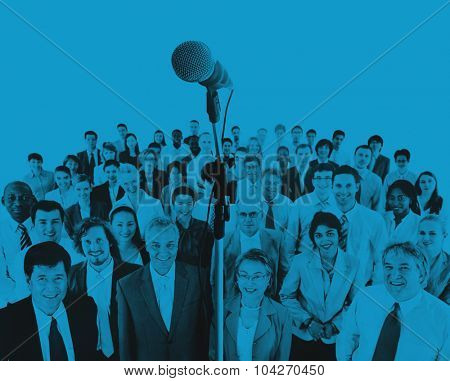 Business People Speech Gathering Microphone Concept
