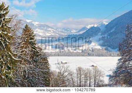 Picturesque Winter Landscape Near The Castle Of Gruyeres