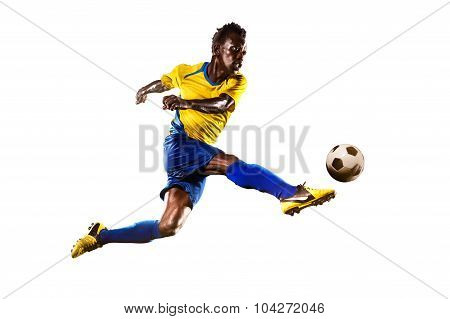 Black soccer player isolated in white