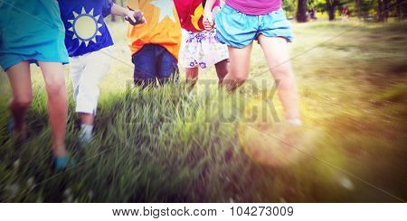 Children Friendship Togetherness Holding Hands Happiness Concept