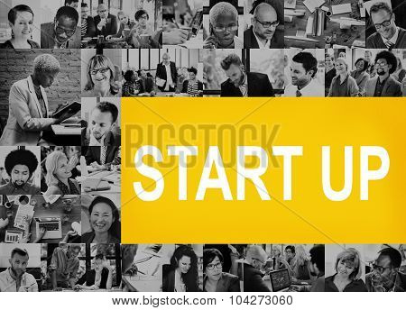 Collage Diverse People Start Up Concept