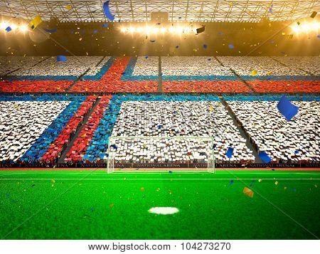 Flag Faroe Islands of fans. Evening stadium arena Yellow