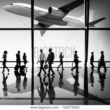 Airplane Airport Business Travel Flight Transport Concept