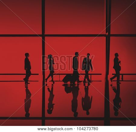 Silhouette Business People Traveling Passenger Concept