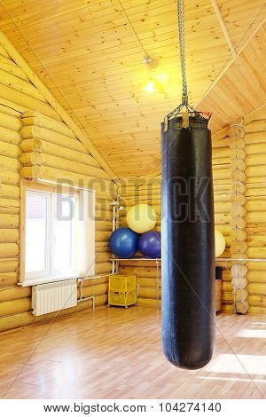 Black punching bag for boxing