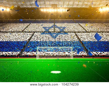 Flag Israel of fans. Evening stadium arena Yellow