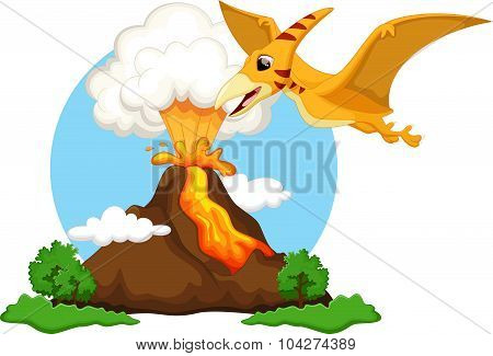 Funny pterodactyl flying with background volcanoes