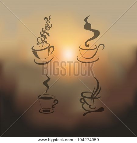 Blurred Set Of Coffee Cup-vector Illustration