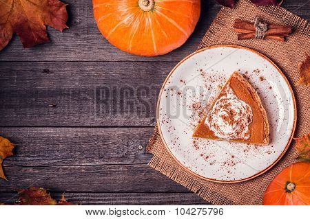 Homemade Pumpkin Pie For Thanksgiving.