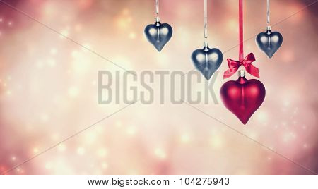 Hanging Heart Shaped Ornaments Background
