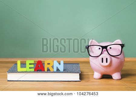 Learning Theme With Pink Piggy Bank With Chalkboard