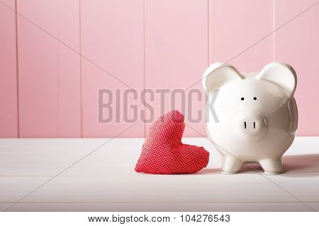 Piggy Bank With Red Heart Pillow