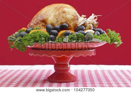 Festive Red Theme Thanksgiving Christmas Turkey Platter.