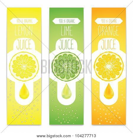 Lemon, Lime And Orange Fresh Juice Label Template For Citrus Fruit Products. Three Banners With Frui