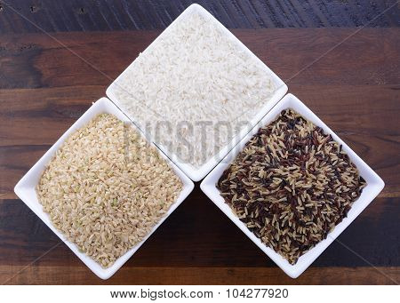 Square Bowls Of Uncooked Rice
