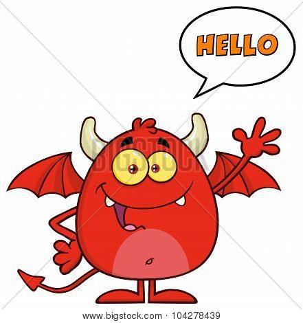 Funny Red Devil Cartoon Character