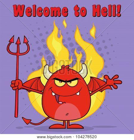 Evil Red Devil Character Holding A Pitchfork Over Flames