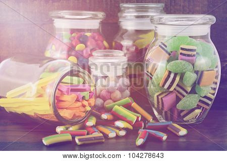 Happy Halloween Candy In Glass Apothecary Jars