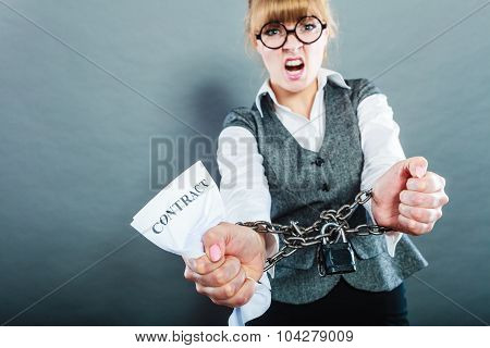 Furious Woman With Chained Hands And Contract