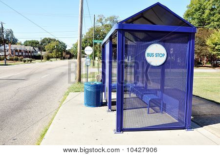 Bus Stop On City Street