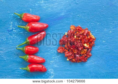 Red Peppers On Blue Background