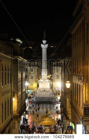 Pedro Iv Column At Night In Lisbon
