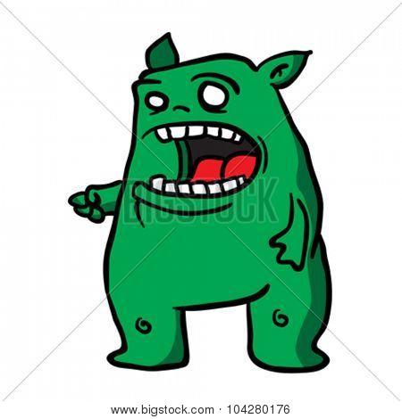 green monster cartoon illustration