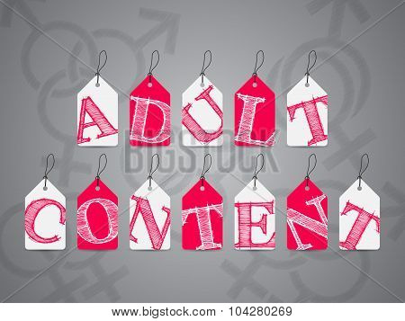 Pink White Labels With Adult Content Warning