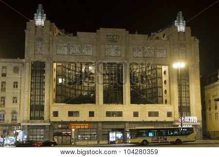 Eden Teatro Building At Night In Lisbon