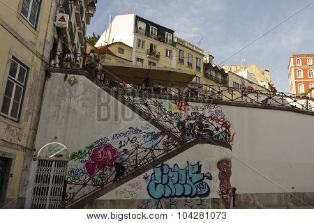 The Staircase From Rossio Station To Calcada Do Duque