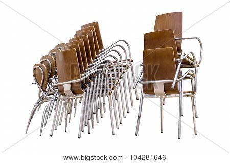 Pile Of Chairs Isolated White Background