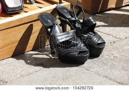 A Pair Of Black High Heel Shoes