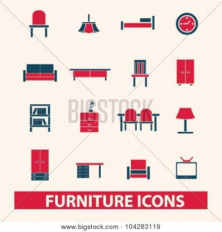 furniture, interior icons