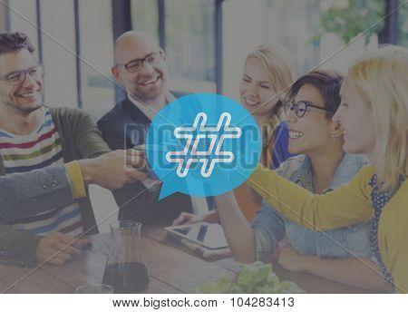Hashtag Icon Social Media Blog Post Concept