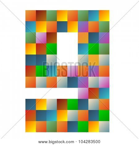 9 number rainbow colorful sparkling vector illustration