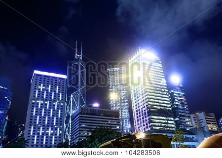 panorama of skyscrapers in a modern city at night