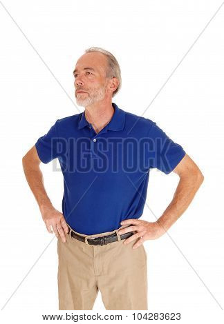 Handsome Middle Age Man In Blue T-shirt.