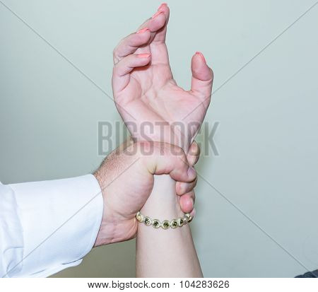 Abductor, Forcefull Man's Hand On A Female.