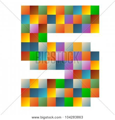 Five, number rainbow colorful sparkling vector illustration