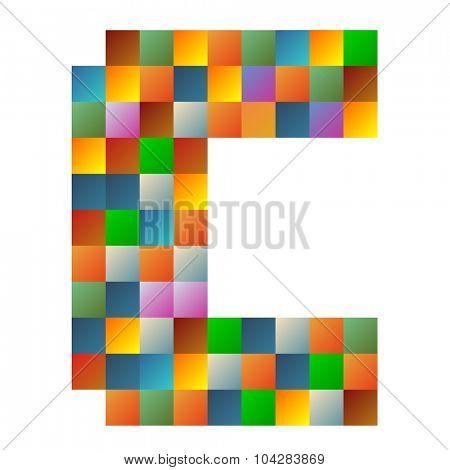 C, Charlie letter rainbow colorful sparkling vector illustration