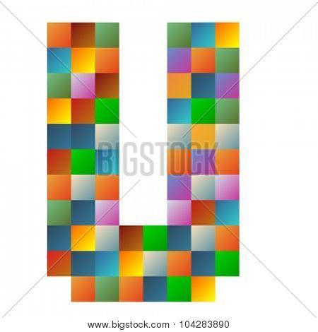 U letter rainbow colorful sparkling vector illustration