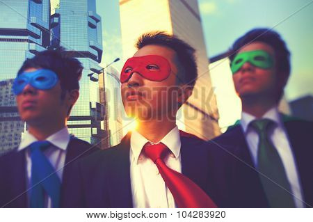 Businessmen Corporate Superhero City Concept